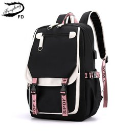 cute backpacks for teenage girls Canada - FengDong kids school backpack for girls korean style black pink cute backpack schoolbag kawaii backpacks for teenage girls gift