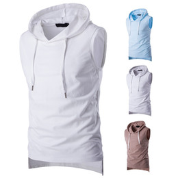 Wholesale split tank tops resale online - Mens Solid Color Hooded Vest Summer Casual Sleeveless Sport Tank Top Male Skateboard Tshirt