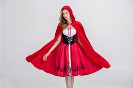 little red riding hood movie costume Canada - Little Red Riding Hood Cloak Cap Costume Dress Halloween Print Red Dress Castle Queen Cosplay Female Party Costumes Sets Dress SnIT#