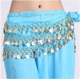 coin belly dance NZ - New style Belly dance costumes chiffon gold coins belly dance hip scarf for women dancing belt 10kinds of colors