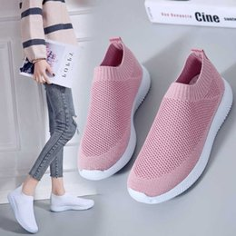 ladies running socks Canada - Knitted Socks Sneakers For Women Breathable Running Shoes Light Slip On Fitness Sport Shoes Ladies Casual Jogging Flats Footwear