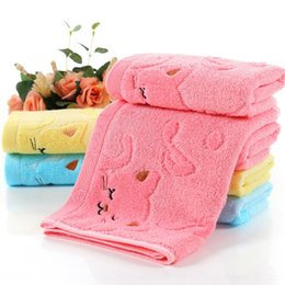 wholesale towels large Australia - Fu runzi straight high sun bamboo fiber embroidered notes cat baby soft absorbent Towel towel