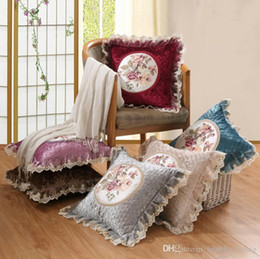 embroidered flower pillow cover UK - Vintage Pillow Case 45*45cm Lace Embroidery Flower Sofa Cushion Cover Home Decoration Housewarming Gift Car Throw Pillow Cover Pillowcase