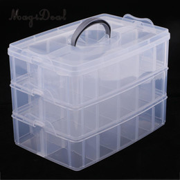 adjustable compartment storage boxes Australia - 3 Layers Stackable Adjustable 30 Compartment Jewelry Dividers Box Organizer Clear Plastic Beads Case Storage