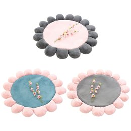 baby crawl pads UK - 1.1m Baby Room Crawling Pad 3D Round Flower Shape Rug Living Room Stretch Carpets Play Mat Folding Children's floor Mat Carpet