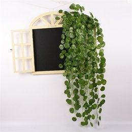 rattan hanging baskets wholesale Canada - Green Artificial Hanging Basket Planting Leaves Garden Ornamental Flower Simulation Rattan Fake Vine Wall Hanging Decoration
