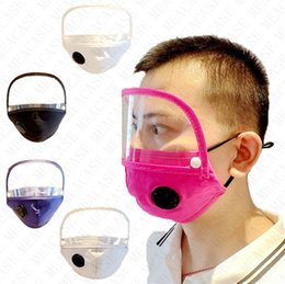 Vente en gros Lavable détachable Masques de coton Femmes Hommes avec Valve et filtre Masque de poche fente visage transparent amovible Eye Shield plastique Visor Couverture D71511