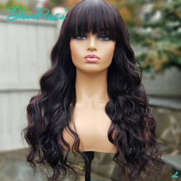 slove hair Canada - 180% Made Human Hair Wigs Brazilian Remy Loose Wave Short Bob Wigs With Bangs Natural Color Slove Rosa Hair