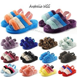 low platform wedges UK - Cheap Women Mens Furry Slippers Fur Sandale Luxury Designer Platform Wedges Heels Sandals Slipper Flip Flops Sandal Oh Fluff Yeah Slides