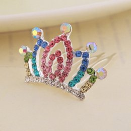korean girls fashion hair style UK - Rhinestone Crown Hair Comb Children Girls Korean Style Fashion Cute Colorful Inlay Festival Perform Alloy Accessories Hair Comb IXVa#