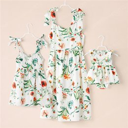 matching mommy girl clothes UK - Family Matching Dresses Summer Mother Daughter Long Sleeve Clothes Outfits Mommy And Me Baby Girl Sunflower Print Dress