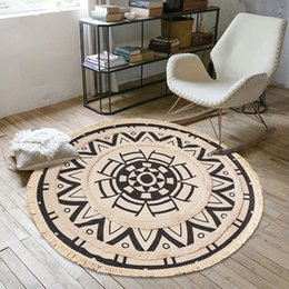 cotton tassels handmade UK - Bohemia Retro Home Round Handmade Woven Cotton Linen Tassel Non-slip Floor Mat For Bedroom Living Room Carpet Home Decoration