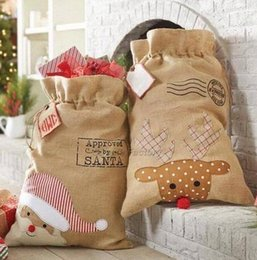 100pcs lot new arrival popular Christmas santa sack burlap santa gift bags sack for Christmas 8sqS#