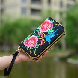 fashion embroidered handbag ethnic UK - New Flower Embroidered Wallet Purse Handmade Ethnic Flowers Embroidery 2018 Fashion Women Long Wallet Phone HandBag,Women Clutch