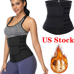 Wholesale shapewear slimming resale online - US Stock Waist Trainer Reducing Shapers Slimming Trimmer Belt Body Shaper Neoprene Tummy Shapewear Steel Bones Woman Cincher Corset