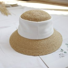 spring hooks Australia - AN6C0 Hua Qiao spring and summer new fashion all-match hand hook Lafite patchwork straw hat Straw hatcornice cap cornice capwomen's sun-proo