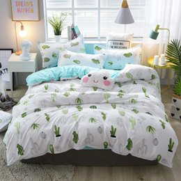 full size yellow sheet set Australia - Cactus Cartoon Style Good Polyester Fabric Duvet Cover Set Flat Sheet Pillow Cases 3 4Pc Twin Full Queen King Size Bedding Sets