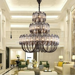 modern crystals Australia - Hotel Engineering Large Crystal Chandelier Lighting Villa Duplex Building Crystal Lamps Nordic Modern Living Room Dining Room Pendant Lamps