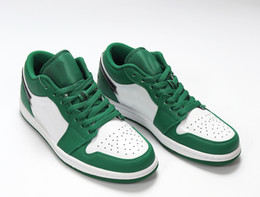 Jumpman 1 Low Pine Green womens basketball shoes 553558-301 PINE GREEN BLACK WHITE scarpe da donna womens tennis shoes trainer chaussures de on Sale