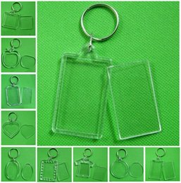 Photo Frame Keychain Clear Acrylic Plastic Blank Keyrings Insert Passport Photo Frame Keychain Picture Frame Keyrings Party Gift DHA450 on Sale