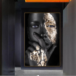 designer eye frames for women NZ - Black Girl With Silver Eyes Canvas Paintings On The Wall African Woman Wall Art Pictures for Living Room Decor (No Frame)