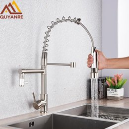 pull out spray kitchen UK - Quyanre Brushed Nickel Black Kitchen Faucet Pull-out Spray Dual Function Water Flow Swivel Spout Single Handle Mixer Tap Sink T200423