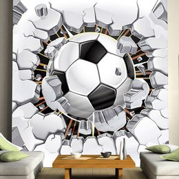 football decor Canada - Wholesale- Cool! Football Photo Mural Custom Any Size 3D Boys Kids'Room Sofa Seamless Murals Wallpaper Rolls TV Background Wall Home Decor