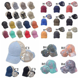 Discount mesh back baseball caps Caps Criss Cross Ponytail Hat Washed Snapback Bun Baseball Cap Summer Tie Dye Mesh Back Ponytail Baseball Caps Trucker P