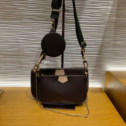 Wholesale Candy bag Top quality MULTI POCHETTE ACCESSORIES cross body bags genuine leather composite bags canvas shoulder bag lady purse with box B003