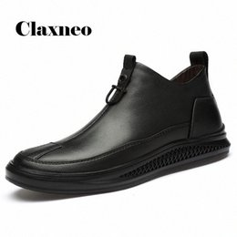 design genuine leather NZ - CLAXNEO Mans Leather Shoes Zipper Design Fashion Shoe Male Spring Autumn Casual Boots Clax Mens Walking Footwear Genuine Leather L0yj#
