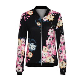 Wholesale womens flowered jackets for sale - Group buy 2019 Hot sale Womens Autumn Slim Jacket Coat Fashion Ladies Biker Celeb Flower Bomber Jacket Coats Basic Casual Outerwear CX200725