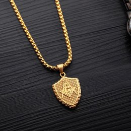 stainless steel masonic pendants 2020 - Antique Masonic Freemason Logo on Shield Charm Necklace in Stainless Steel cheap stainless steel masonic pendants