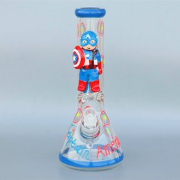 "luminous bong Canada - Captain America 3D  Painted Luminous""pyrex beaker bong glass water pipe bong oil rig recycler bong double filter dab rig"