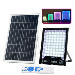 Solar RGB Flood Lights 60W-400W LED Color Changing Outdoor Security Floodlight Wall Light Waterproof IP65 Spotlight with Remote Control on Sale
