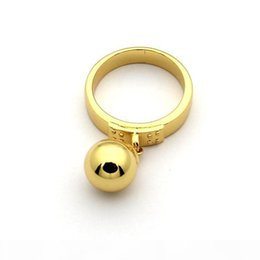 t letter ring UK - D Titanium Steel Jewelry Wholesale T Letter Hanging Bead Ring 18k Gold Hanging Ball Ring Ladies Ring