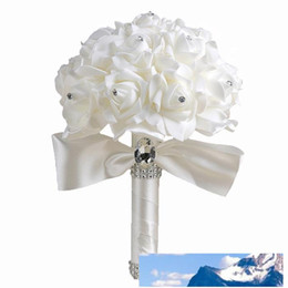 wedding bouquet white roses NZ - Wholesale Wedding Bouquet White Bridesmaid Artificial Bridal flowers Bouquets with Crystals Colorful Ribbons Artificial Rose Flowers Wedding