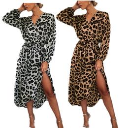 Wholesale sexy elegent dresses resale online – Fashion Leopard Chiffon Dress for Women Ladies Sexy V neck Lace Up Shirt Long Dresses Elegent PARTY Bar Club Skirt Boutique Cloth LY7272