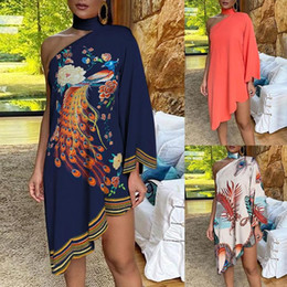 peacock blue long dresses Canada - Vintage Women's Autumn Irregular dress sexy Halter One-shoulder club party Dress elegant Long Sleeve Peacock Print vestido