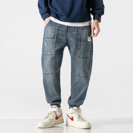 blue denim cargo pants UK - Japanese Style Fashion Men Jeans Blue Color Loose Fit Spliced Denim Cargo Pants Streetwear Hip Hop Jeans Men Joggers fj0v#