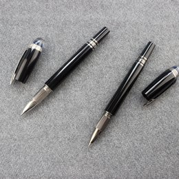 stationery writing vintage Australia - Blue Crystal Cap Black Metal Rollerball Pen Men Handmade Vintage Stationery Products School Office Supplies Roller Pens Set Gift