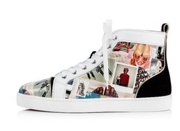 mens pipes Canada - Fashion red bottom sneaker mens,women luxury casual shoe high-top Summer Sunflower trimmed grosgrain piping finish, printed-patent leather