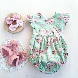 Wholesale summer jumpers for sale – dress 0 M Newborn Baby Girl Bodysuit Floral Jumper Short Sleeve Sunsuit Summer Clothes Outfits Kids Jumpsuit Playsuit New Sale