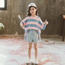 girls ripped shirts UK - Teenage Girls Clothing Set Summer Kids Tracksuit stripe Print T shirt Ripped Jeans Sets Girls Clothes Child Costume 10 12 13 Yea LprD#