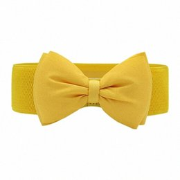 wide elastic leather belts UK - Fashion Women Bowknot Elastic Wide Stretch Buckle Waistband Waist Belt Yellow 6NTI#