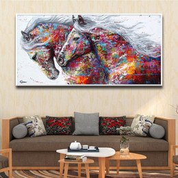 abstract horses oil painting Canada - 2020 Hot Abstract Watercolor Horse Animals Oil Painting Wall Art Canvas Pictures for Bedroom Living Room Large Modern Home Decor Posters