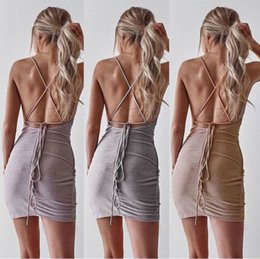 stylish maxi dresses sleeves UK - New Summer Sexy Ladies Sequins Mini Dress Sexy V-Neck Backless Bandage Dresses Cocktail Party Slim Dress Stylish Female Clothes