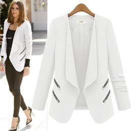fitted suits for women Canada - Women's Slim Fit Cool Zip Pocket Small Suit Jacket for Autumn and Winter Women Blazer Jacket 2020 Outerwear Chaqueta Mujer