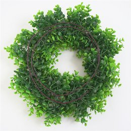 plastic green vines Canada - Artificial Ivy Small Roses Fake Flowers Vine Garland Wedding Home Store Decoration Plastic Hanging Wall Green Plants Rattan Leaf