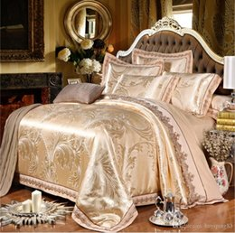 embroidered duvet cover sets queen Australia - Europan-style jacquard bedding set luxury 4 6 pcs Satin silk cotton duvet cover bed sheet pillowcase queen king size lace home textile