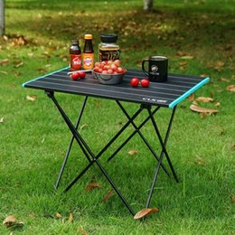 lightweight portable chairs NZ - Lightweight Outdoor Aluminum Alloy Folding Table Camping Portable Picnic Barbecue Table Camping Aluminum Sheet Patio Table And Chairs kphx#